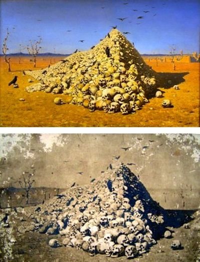 1120 Apotheosis of War painting and later post card by Vasily Vereshchagin 1871.jpg